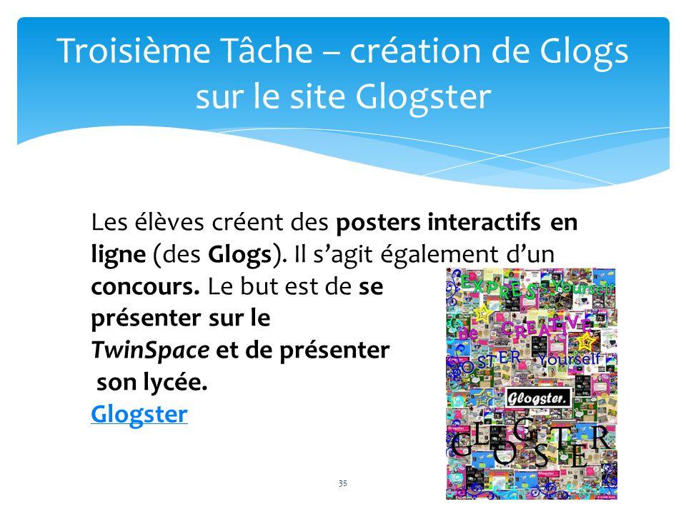Troisième Tâche – création de Glogs sur le site Glogster