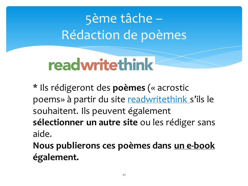 5ème tâche – Rédaction de poèmes 42