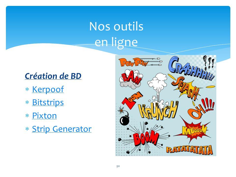 Nos outils en ligne 50 Création de BD Kerpoof Bitstrips Pixton