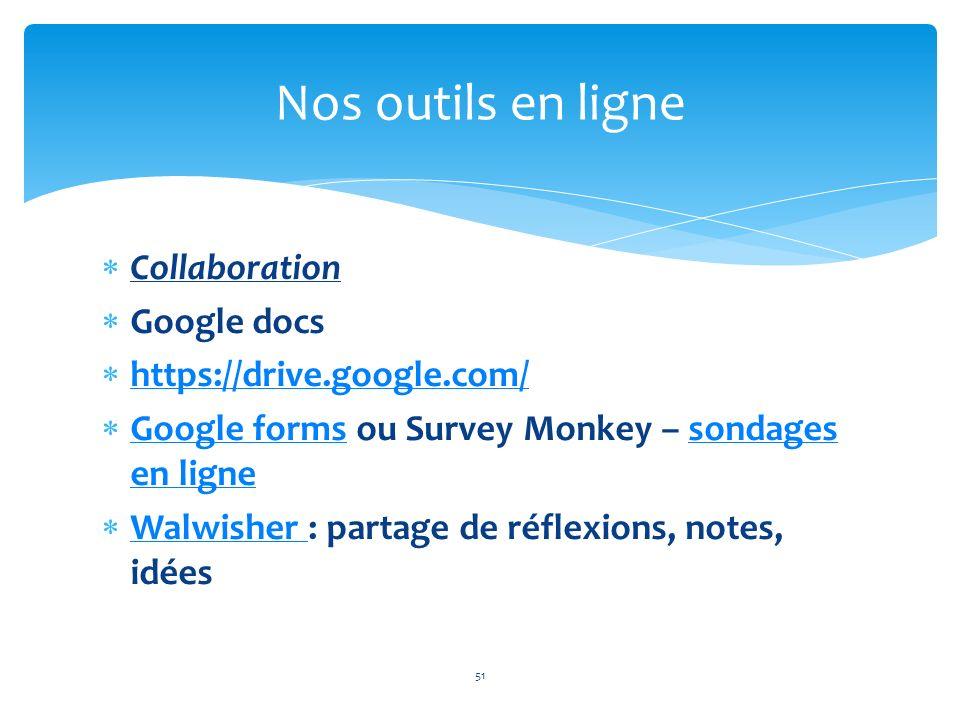 Nos outils en ligne Collaboration Google docs