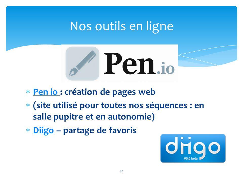Nos outils en ligne Pen io : création de pages web