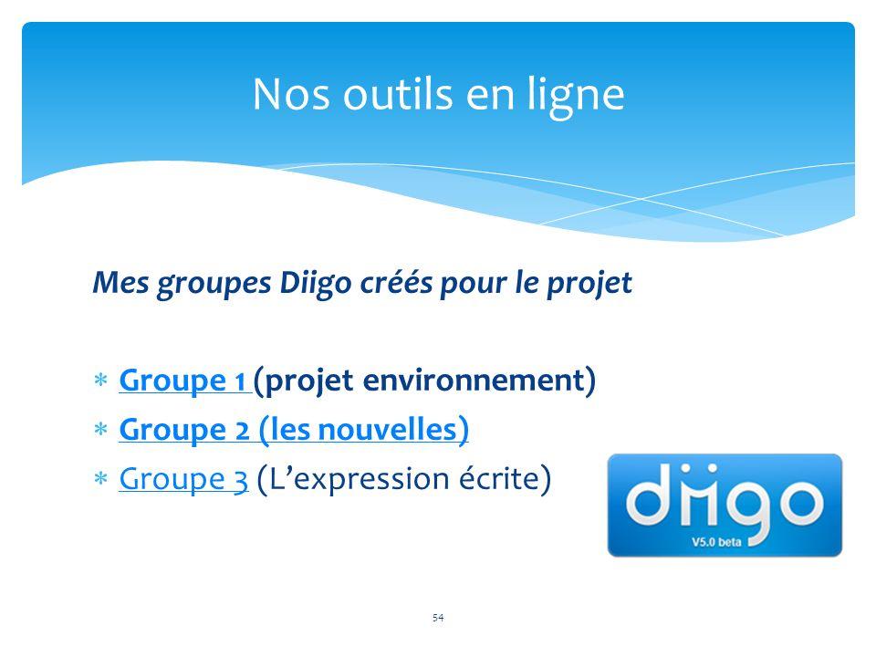 Nos outils en ligne Mes groupes Diigo créés pour le projet