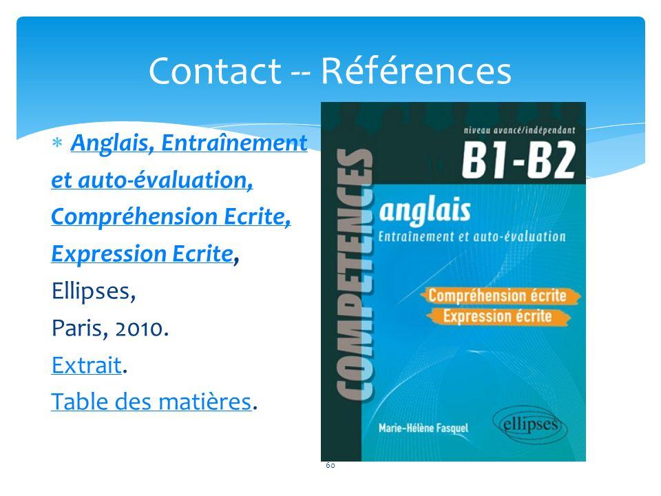 Contact -- Références Anglais, Entraînement et auto-évaluation,