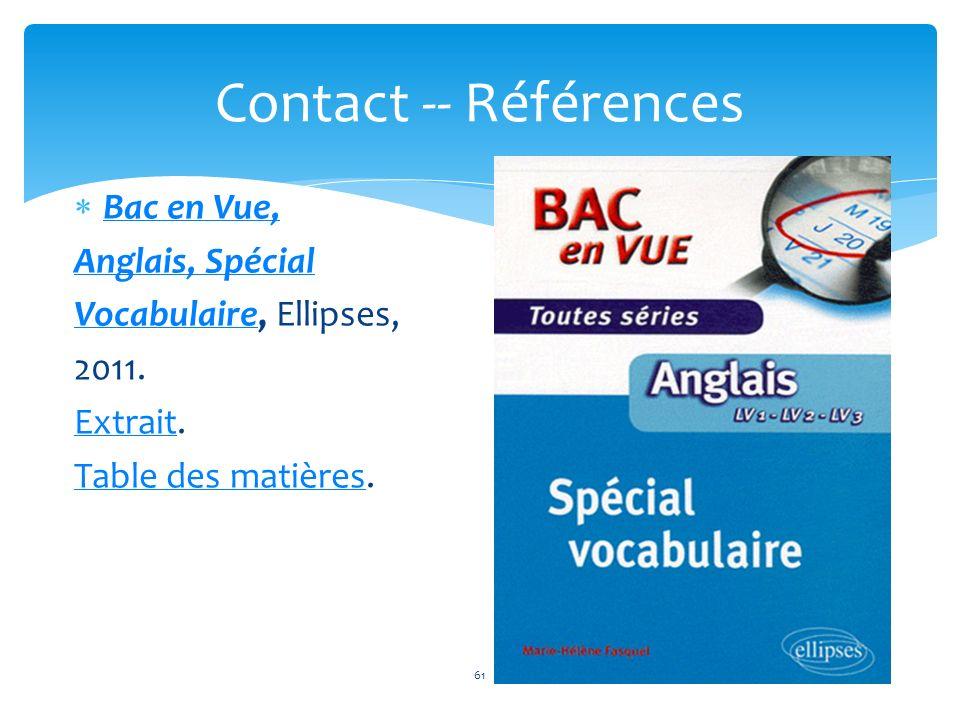 Contact -- Références Bac en Vue, Anglais, Spécial