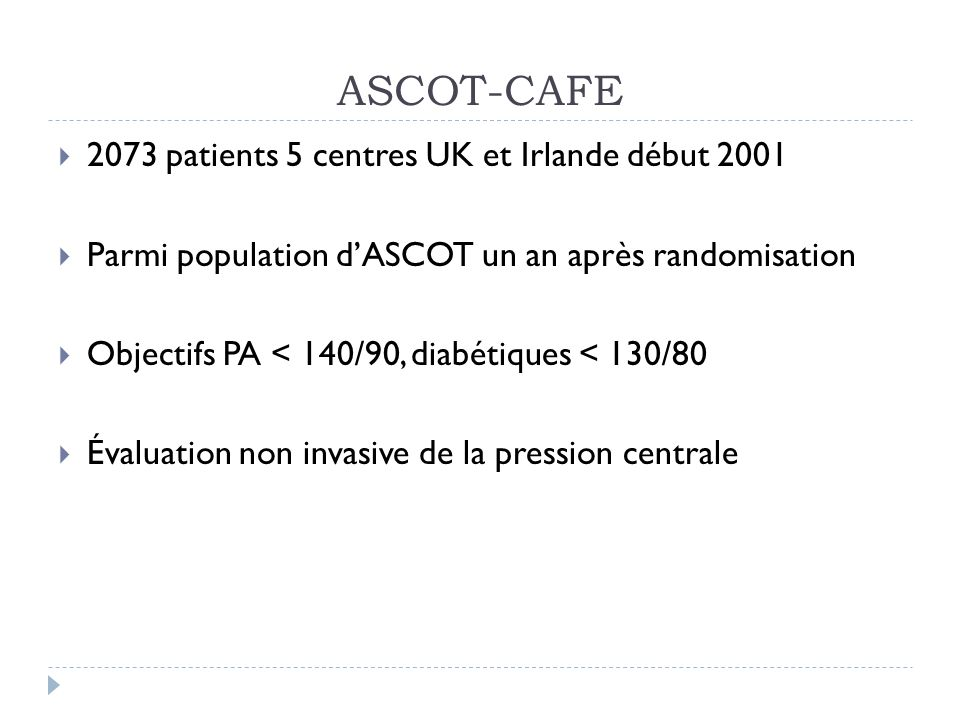 ASCOT-CAFE 2073 patients 5 centres UK et Irlande début 2001