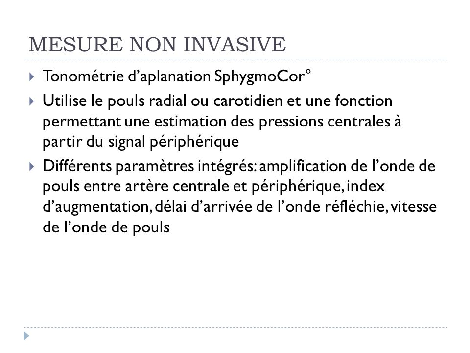 MESURE NON INVASIVE Tonométrie d'aplanation SphygmoCor°