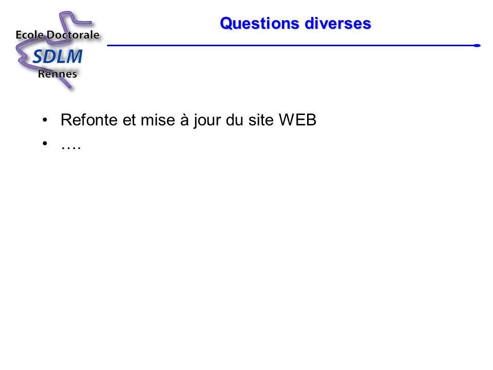 Questions diverses Refonte et mise à jour du site WEB ….