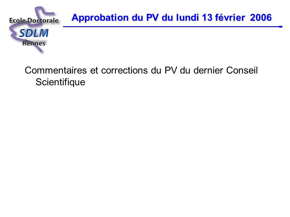 Approbation du PV du lundi 13 février 2006