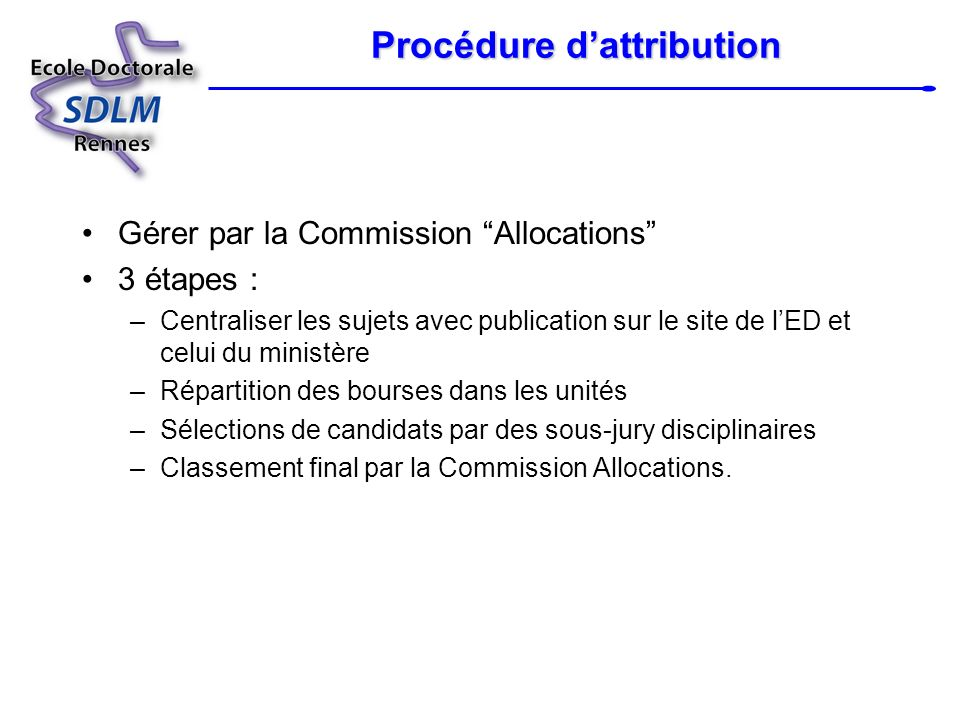 Procédure d'attribution