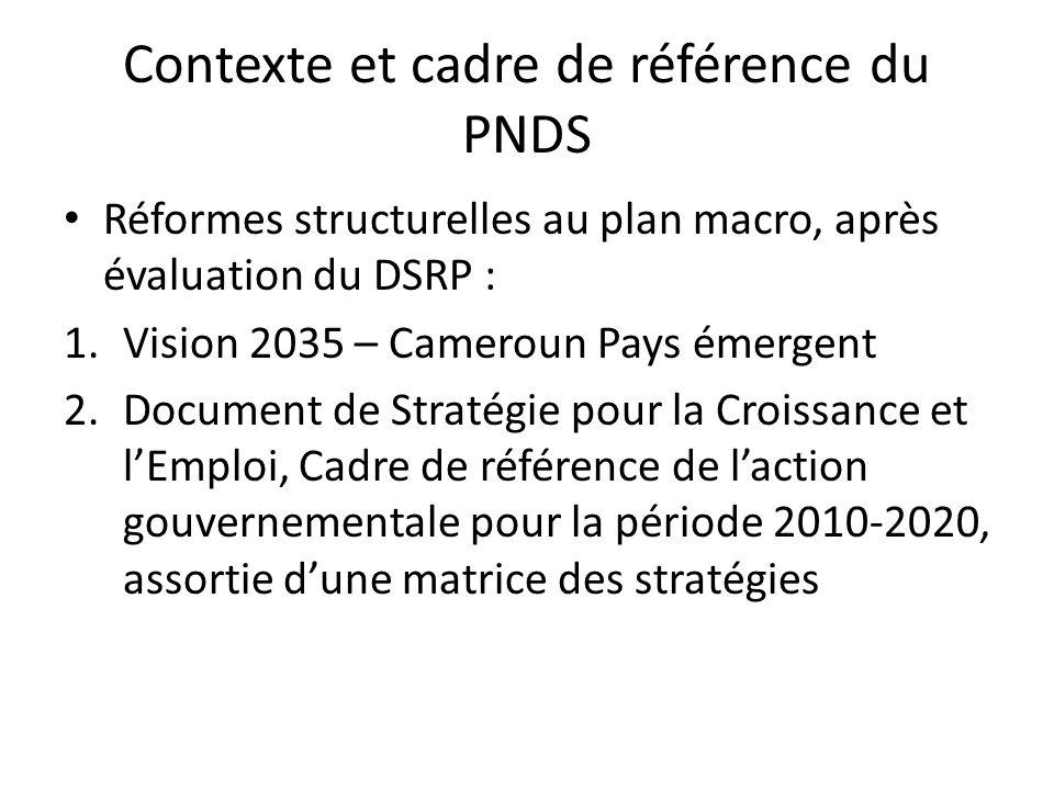 Contexte et cadre de référence du PNDS