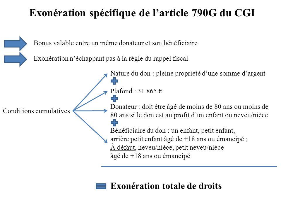 Exonération spécifique de l'article 790G du CGI