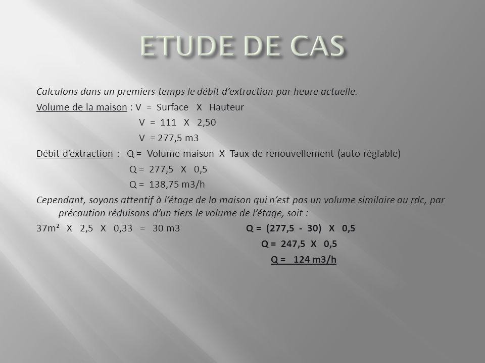 ETUDE DE CAS Calculons dans un premiers temps le débit d'extraction par heure actuelle. Volume de la maison : V = Surface X Hauteur.