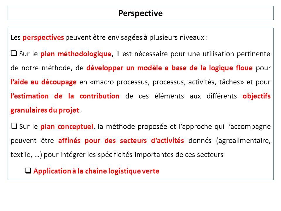 PerspectiveLes perspectives peuvent être envisagées à plusieurs niveaux :