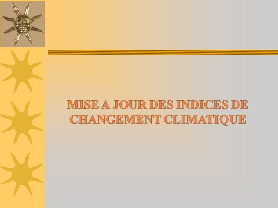 MISE A JOUR DES INDICES DE CHANGEMENT CLIMATIQUE