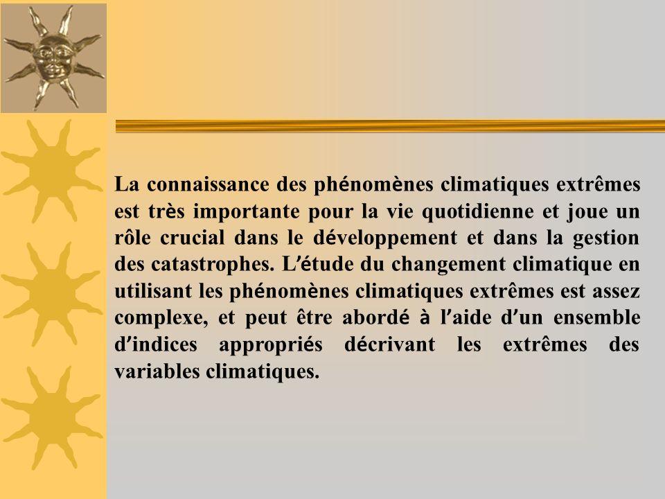La connaissance des phénomènes climatiques extrêmes est très importante pour la vie quotidienne et joue un rôle crucial dans le développement et dans la gestion des catastrophes.