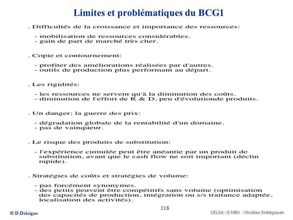 Limites et problématiques du BCG1