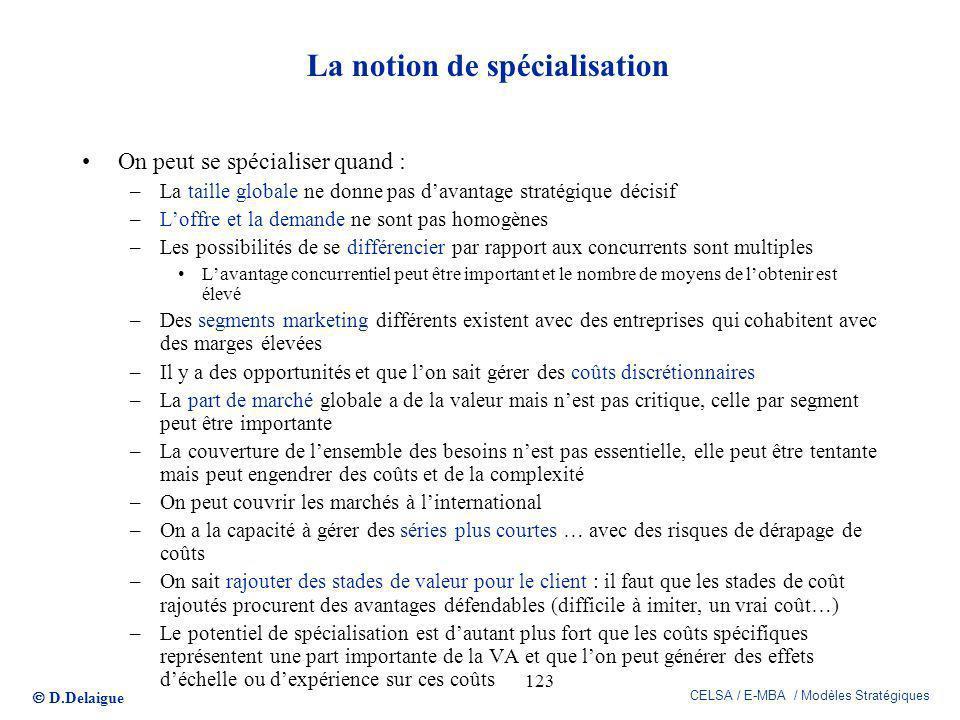 La notion de spécialisation