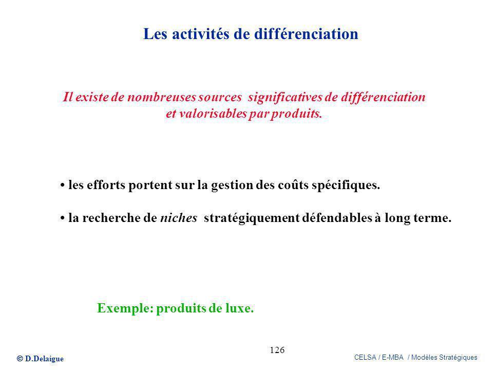 Les activités de différenciation