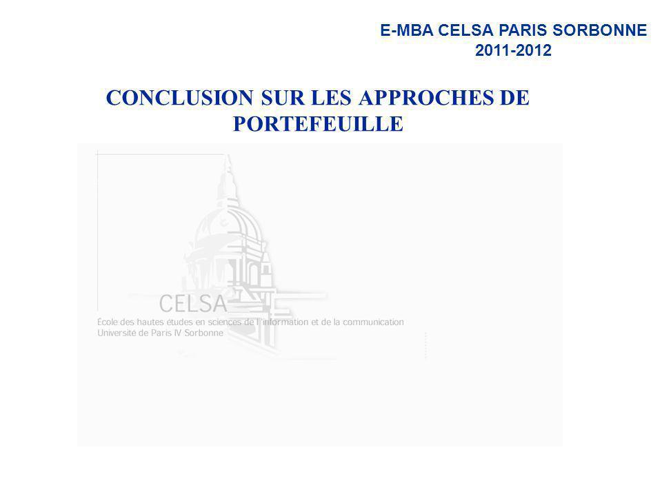 CONCLUSION SUR LES APPROCHES DE PORTEFEUILLE