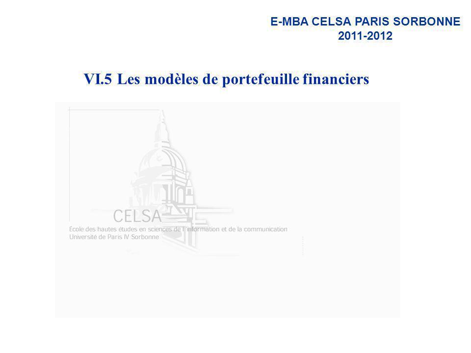 VI.5 Les modèles de portefeuille financiers