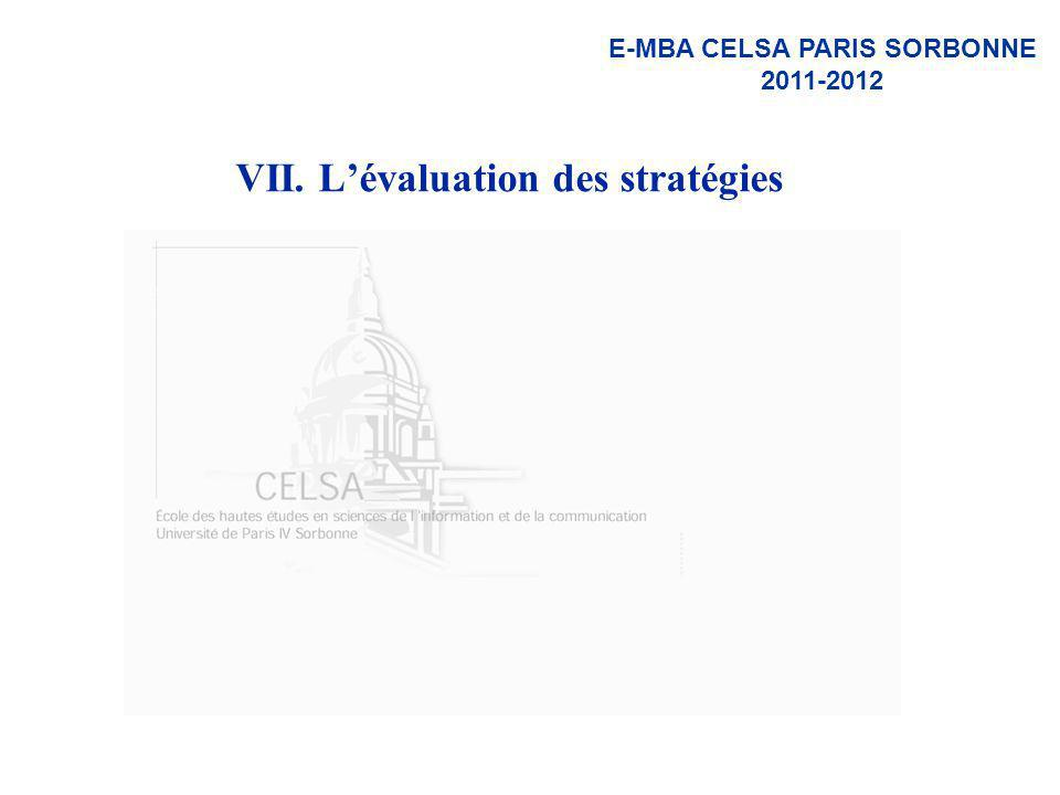 VII. L'évaluation des stratégies