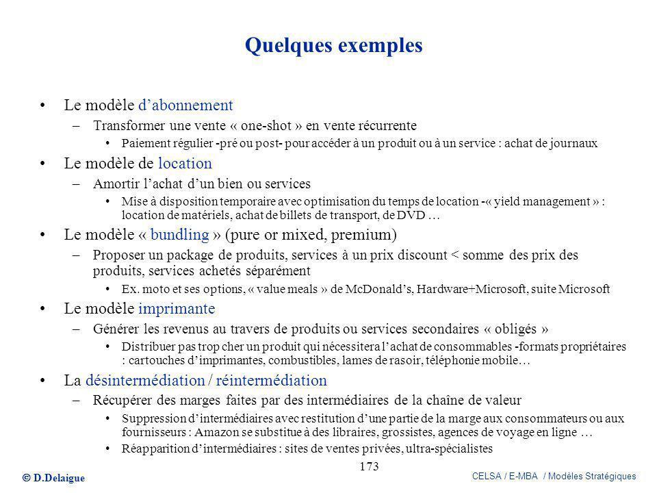 Quelques exemples Le modèle d'abonnement Le modèle de location