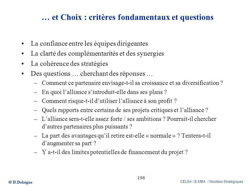 … et Choix : critères fondamentaux et questions