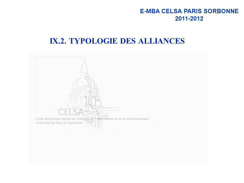 IX.2. TYPOLOGIE DES ALLIANCES
