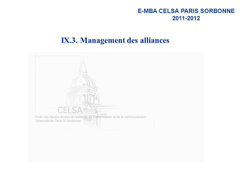 IX.3. Management des alliances