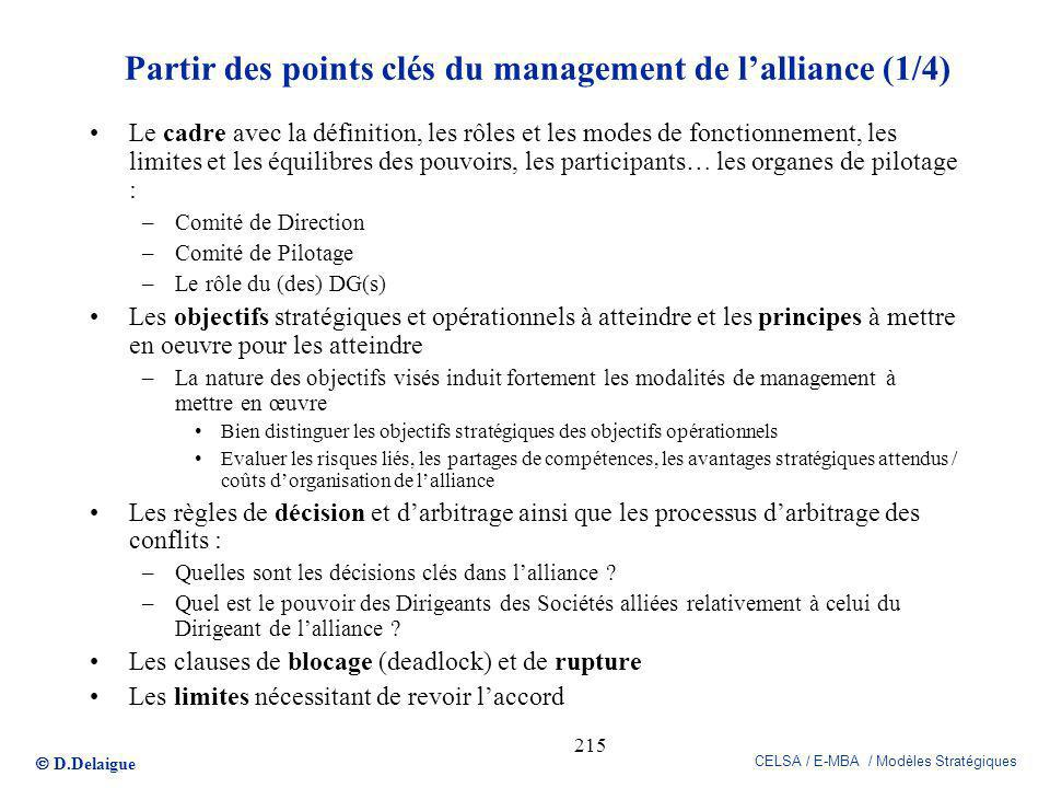 Partir des points clés du management de l'alliance (1/4)