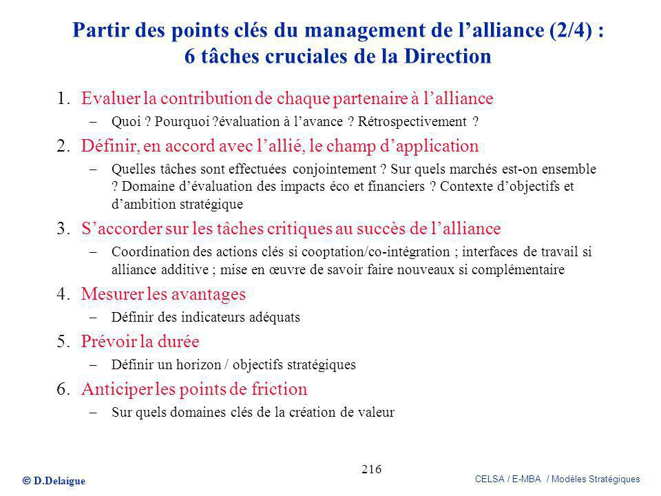 Partir des points clés du management de l'alliance (2/4) : 6 tâches cruciales de la Direction
