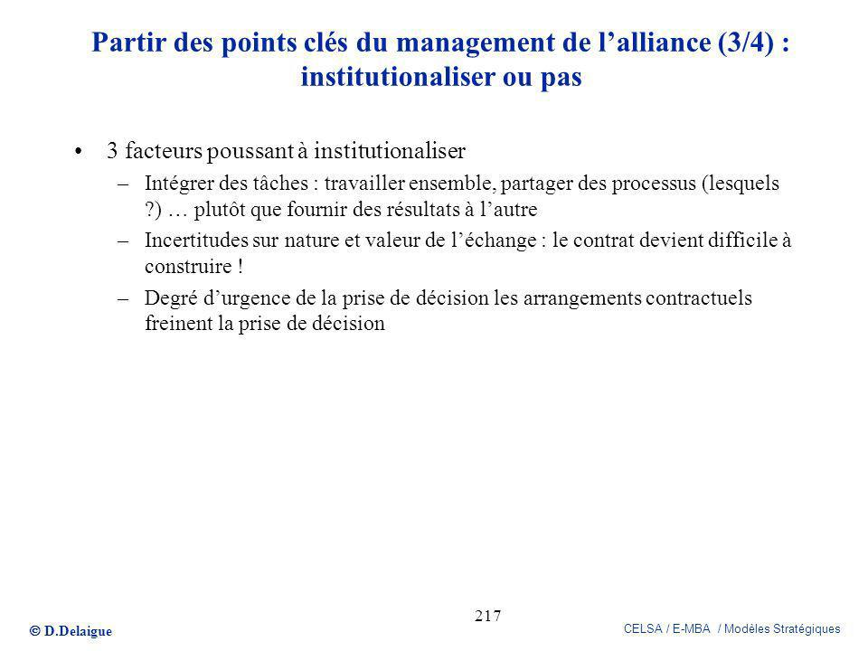 Partir des points clés du management de l'alliance (3/4) : institutionaliser ou pas