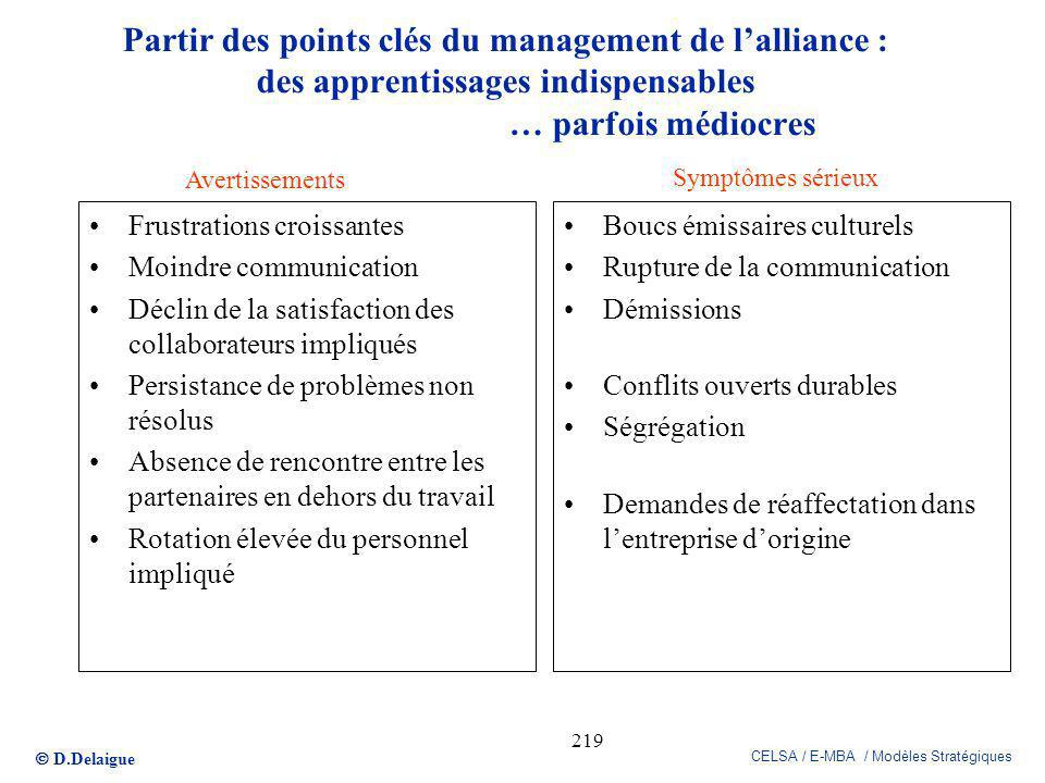 Partir des points clés du management de l'alliance : des apprentissages indispensables … parfois médiocres