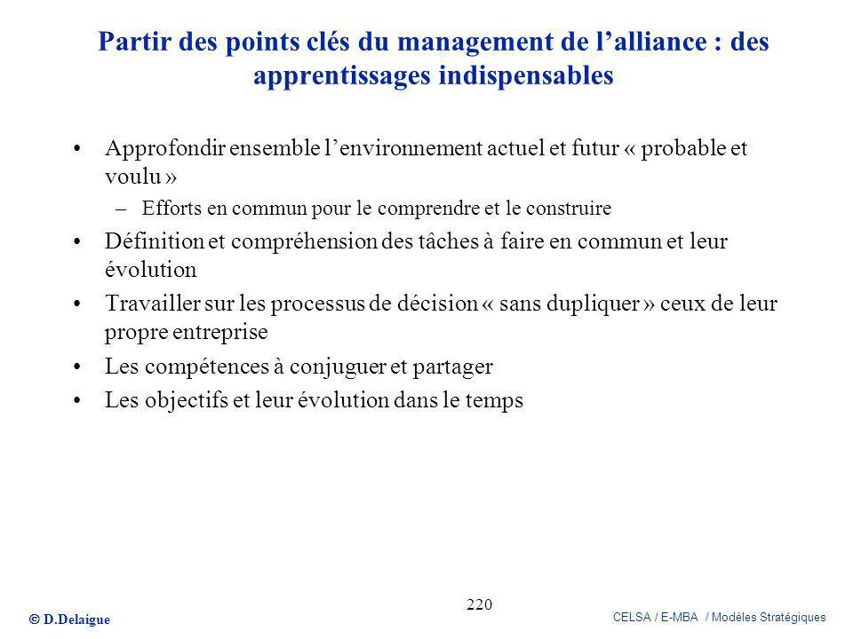 Partir des points clés du management de l'alliance : des apprentissages indispensables