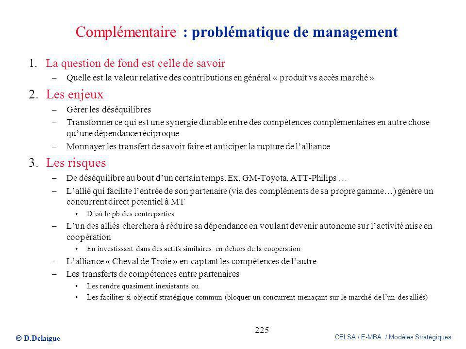 Complémentaire : problématique de management