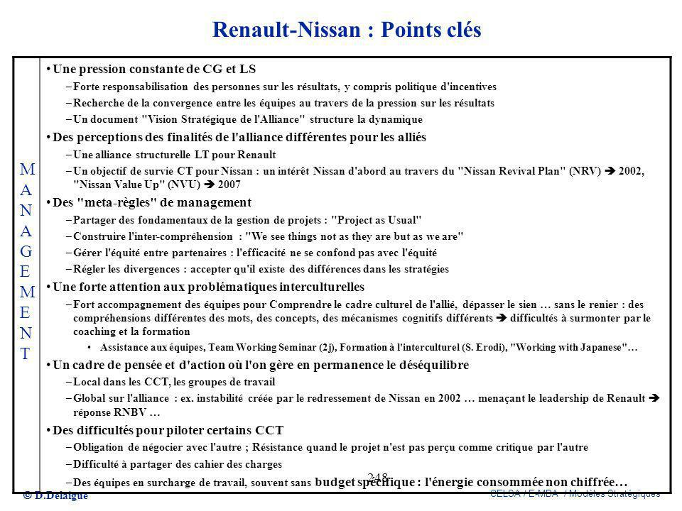 Renault-Nissan : Points clés