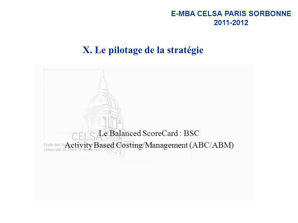 X. Le pilotage de la stratégie