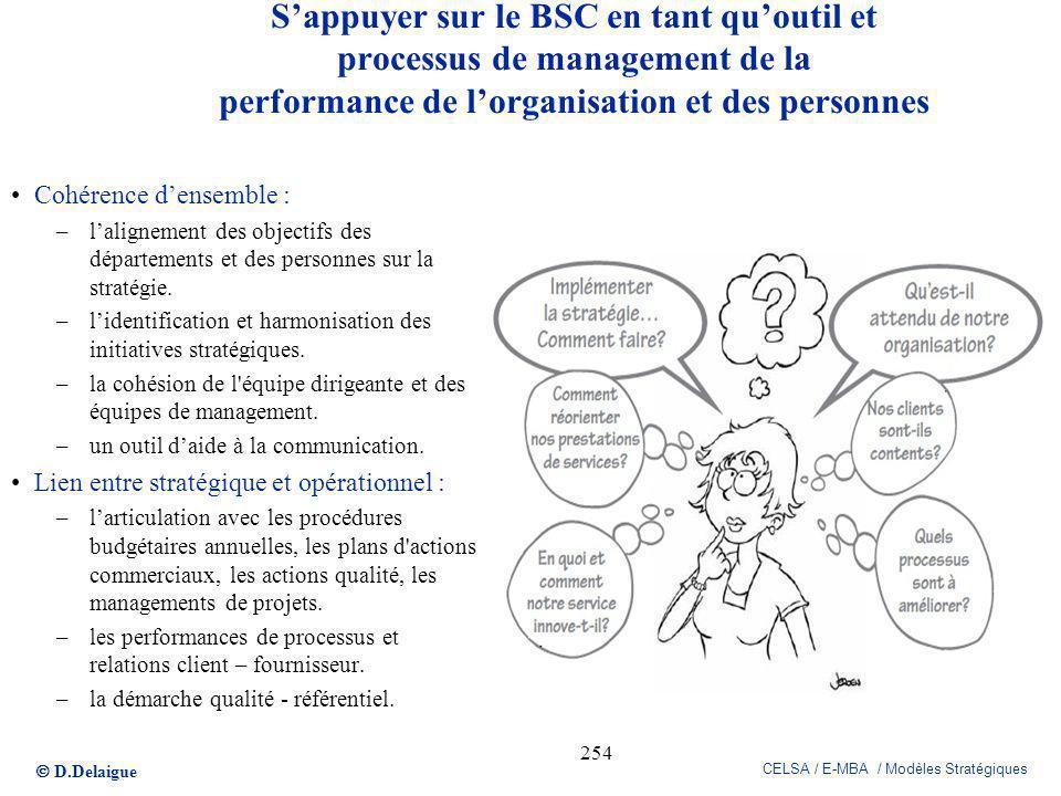 S'appuyer sur le BSC en tant qu'outil et processus de management de la performance de l'organisation et des personnes