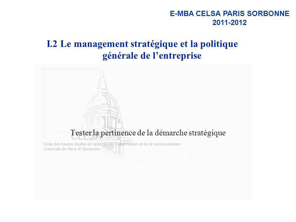I.2 Le management stratégique et la politique générale de l'entreprise