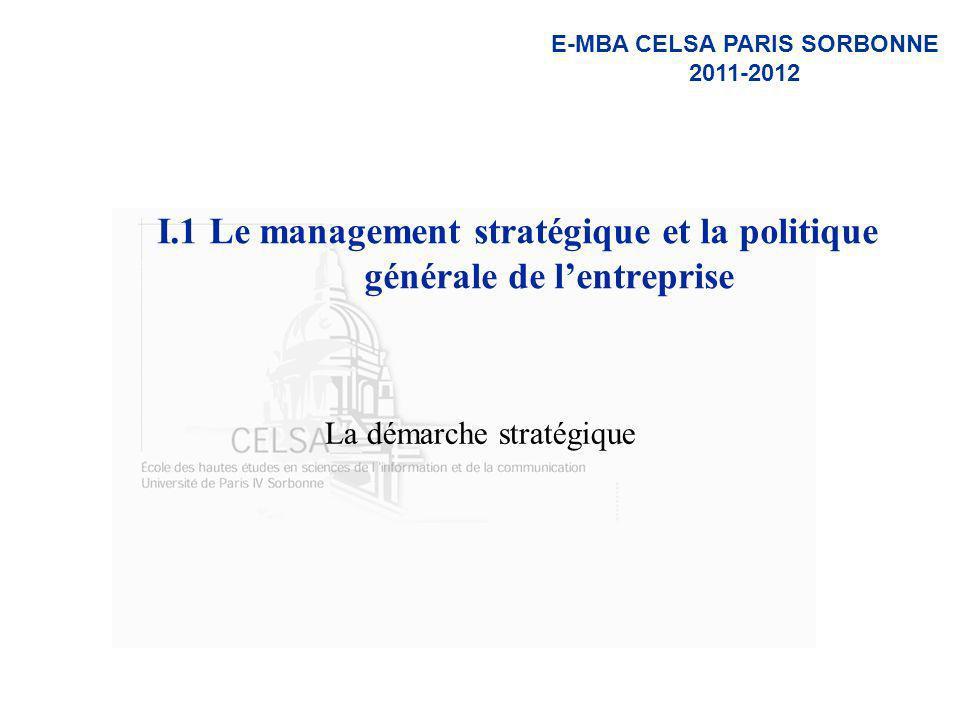 I.1 Le management stratégique et la politique générale de l'entreprise