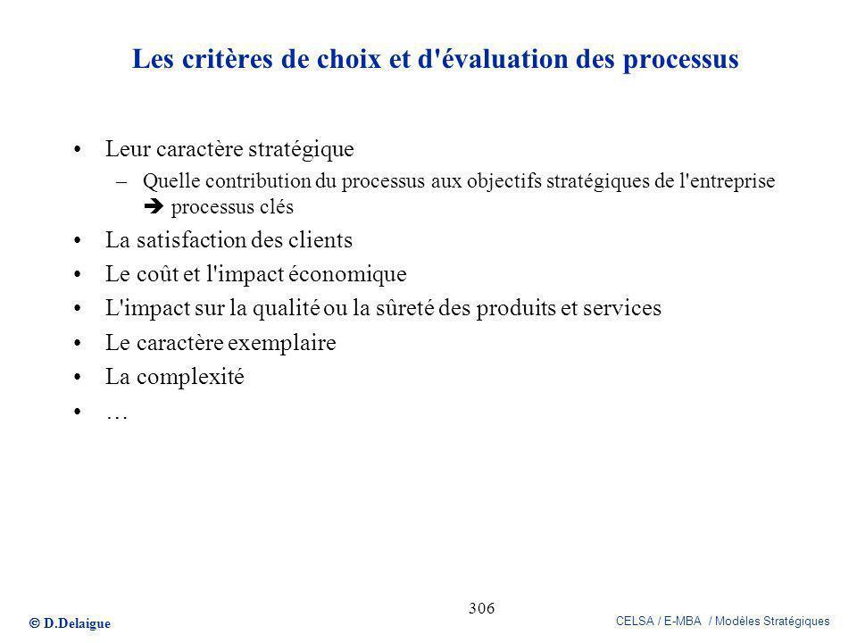 Les critères de choix et d évaluation des processus