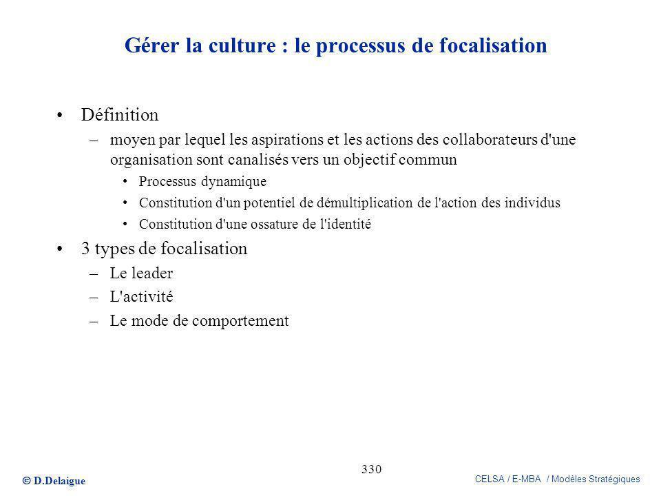 Gérer la culture : le processus de focalisation