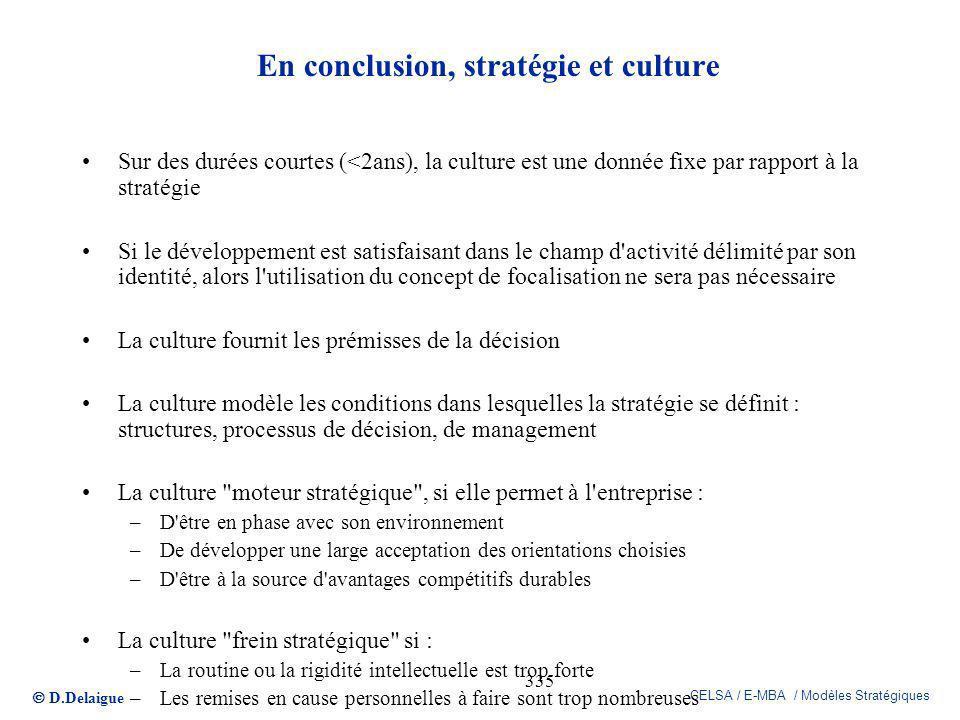 En conclusion, stratégie et culture