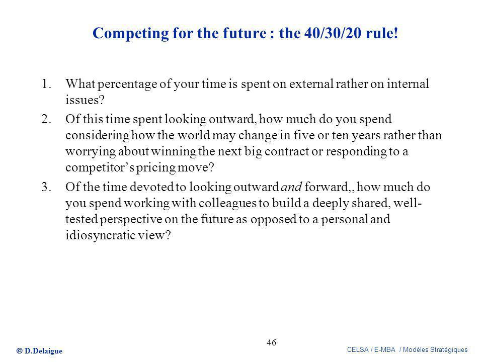 Competing for the future : the 40/30/20 rule!