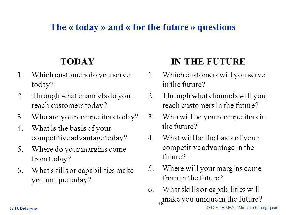 The « today » and « for the future » questions