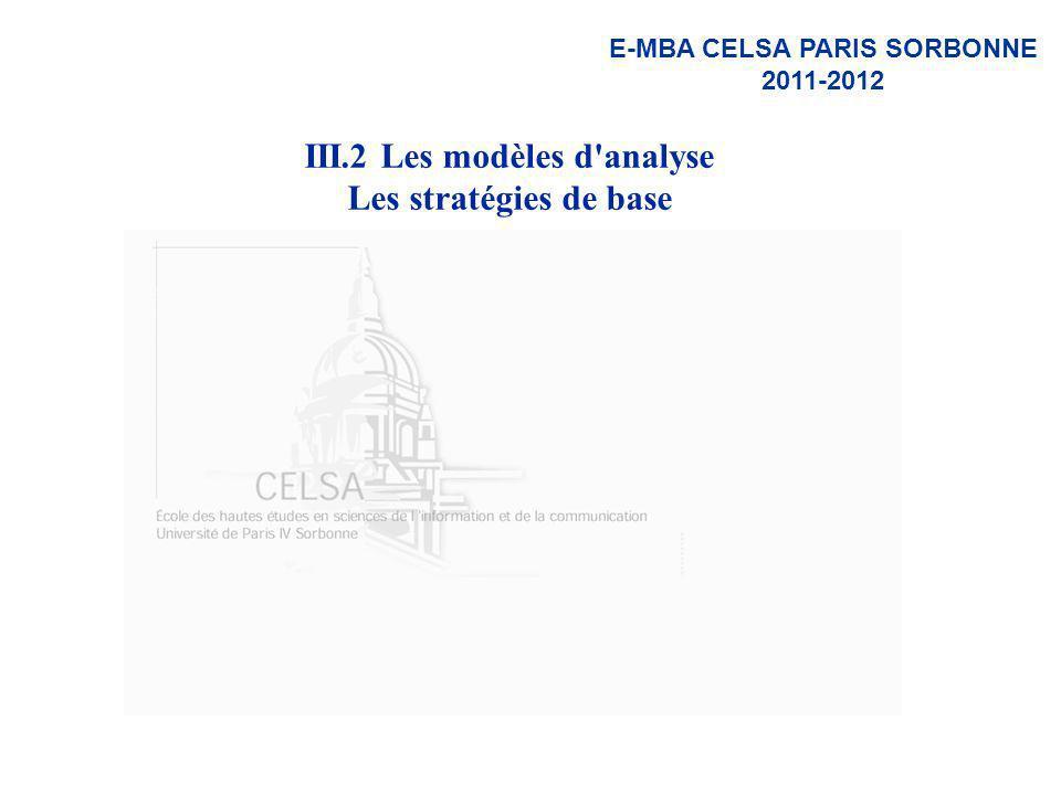 III.2 Les modèles d analyse Les stratégies de base