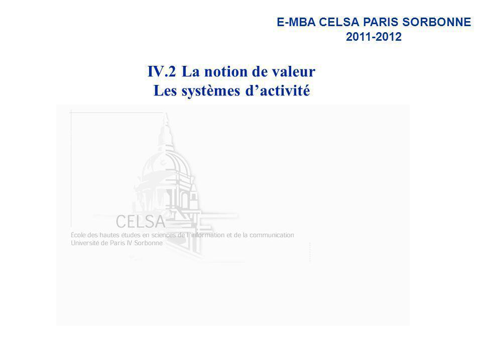 IV.2 La notion de valeur Les systèmes d'activité