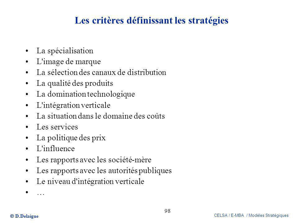 Les critères définissant les stratégies