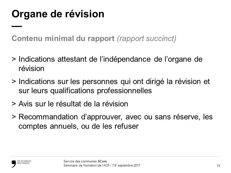 Organe de révision — Contenu minimal du rapport (rapport succinct)