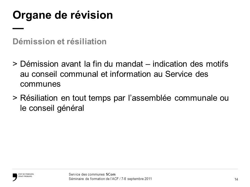 Organe de révision — Démission et résiliation